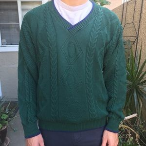 Vintage dark green Le Coq Sportif knitted sweater